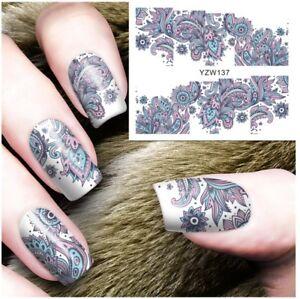 Purple Henna Design Nail Art Sticker Decal Decoration Manicure Water Transfer