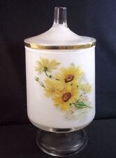 1970s Vanity jar white internal painted glass yellow flowers gold rim on lid 8""