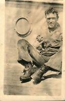 Military Pet Monkey Antique (ca. 1915) RPPC Photo Oddity Postcard