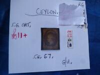 CEYLON QUEEN VICTORIA SIX  PENCE STAMP SG. 67  G/U