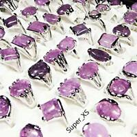 5pcs Purple Amethyst Stone Rings Silver Plated Wholesale Jewelry Free Shipping B