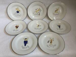 Set of 8 - Pottery Barn  ' Reindeer '  Salad / Dessert  Plates