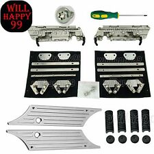 Chrome Saddle Bag Billet Latches Cover Hardware Rubber Set for Harley 1993-2013
