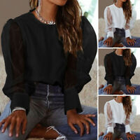 UK Women Puff Sleeve Tops See Though Lace Shirt Holiday Party Blouse Basic Tee