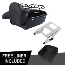 King Tour Pak Trunk Backrest Chrome Rack For Harley Street Road Glide 14-20