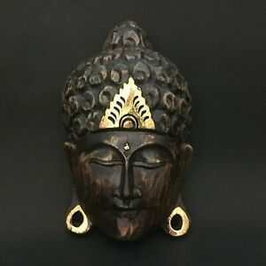 Buddha Face Wooden Mask Hand Carved Art Sculpture Wall Hanging Home Decoration