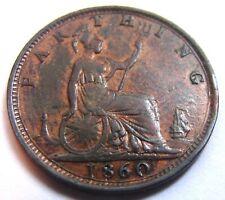 1860 QUEEN VICTORIA 2nd portrait FARTHING Great Britain Antique bronze Coin