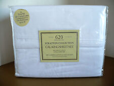 Stratton Collection Fine Linen 620 100% Cotton White 4 pc Cal King Bed Sheet Set