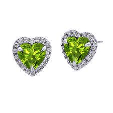 Heart Peridot Diamond Earrings 10k White Gold (6mm) August Birthstone