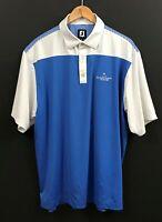 FOOTJOY FJ Men's Blue/White Striped Short Sleeve Stretch Golf Polo Shirt sz XL