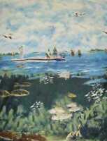 Reel em In fishing scenic Wilmington fabric