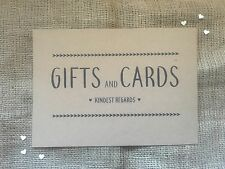 Wedding gifts and cards sign A4 brown Kraft card