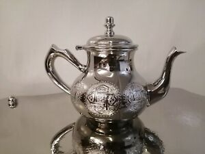 Moroccan teapot tea set handmade silver authentic morocco Fez Large size