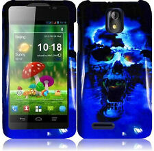 Cricket ZTE Engage LT N8000 HARD Protector Case Phone Cover Blue Skull accessory