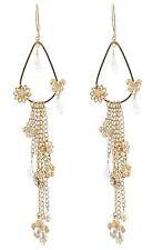 Zest Swarovski Crystal & Chain Flower Long Drop Earrings for Pierced Ears Gold