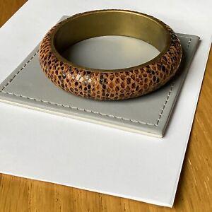 Vintage Suede Leather Outer Bangle Bracelet