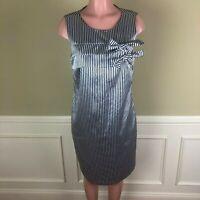 Banana Republic Womens Dress Blue Silver Stripe Bow Sleeveless Size 10