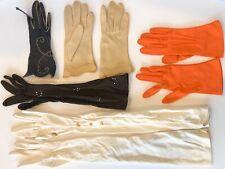 Ladies Gloves Vintage Lot of 3 Pairs Orange, Beige, Long Ivory, 2 Mismatched Blk