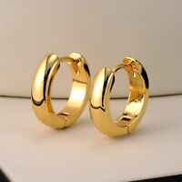 18k Yellow Gold Filled Smooth Earrings 14MM Women's Hoop Huggie GF Jewelry Gift