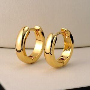 18k Yellow Gold Filled Smooth Earrings 14MM Women's Hoop Huggie GF Jewelry Gift