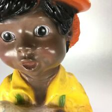 """1974 Universal Statuary Chalkware Black African American Boy With Small Dog 10"""""""