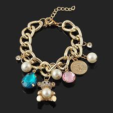 Mujer Hermoso Pulsera Cadena Perla Brazalete Colgante Oso Cristal Bracelet