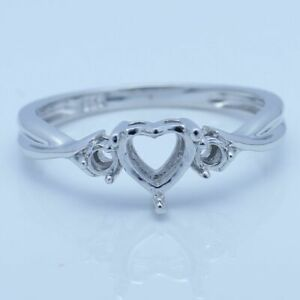 Three stones Heart 6x6mm Round 2.5-2.7mm Sterling Silver Jewelry Semi Mount Ring