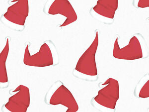 """Red Santa Hats White Tissue Paper 20 Sheets Christmas Holiday 20x30"""" Recycled"""