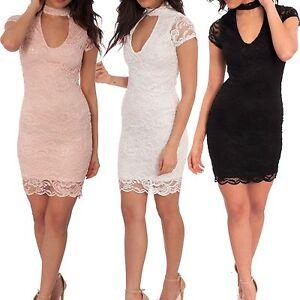 Ladies Short Sleeve Lace Floral Crochet Choker Plunge Neck Mini Bodycon Dress