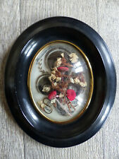 SUPERB ANTIQUE FRENCH SENTIMENTAL MOURNING HAIR ART w. FLOWERS DATED 1887 ( #1 )
