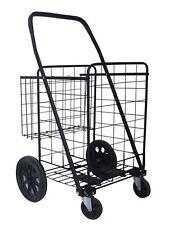 Heavy Duty Jumbo Folding Shopping Cart -lted Strong Caster Wheels - Extra Basket