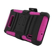 For LG Venice LG730 HYBRID COMBO KICKSTAND Rubber Case Phone Cover Black Pink