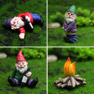 4pcs Naughty Gnome Statue Garden Outdoor Decoration DIY Resin Ornaments Funny