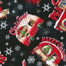 Timeless Treasures North Pole C6070 Black Christmas Trailer & Truck Toss Cotton