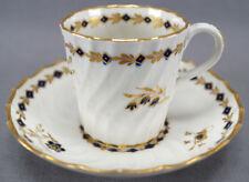 Set of 4 Flight Worcester Cobalt & Gilt Floral & Diamond Coffee Cups & Saucers