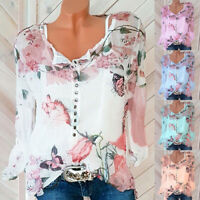 UK Womens Chiffon T Shirt Tee Buttons Blouse Floral Butterfly Ladies Loose Tops