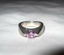 Vintage Sterling Silver 925 Fossil Pink Stone Ring Size 6.5 Weighs 11.4 Grams