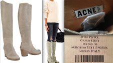ACNE STUDIOS Pistol Gray Grey Leather TALL BOOTS BOX + BAG EUR 36 Made in Italy