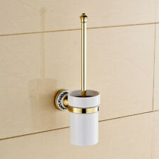 Luxury Gold Brass Wall Mounted Toilet Brush Holder Set Bathroom Accessories