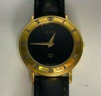 Vintage Authentic GUCCI 3000L Black Dial 18kGP Leather Quartz Ladies Watch