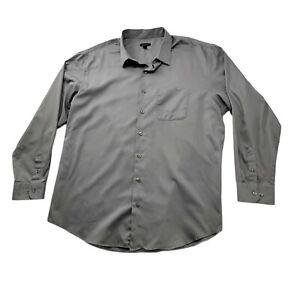 Van Heusen Mens Size 2XLT 19-19 1/2 Button Up Collared Shirt Long Sleeves Gray