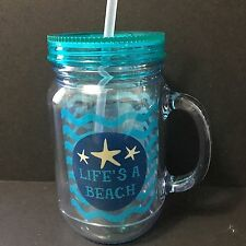 Life's a Beach Double Walled Plastic Mason Jar Insulated Cup with Straw 20 Oz