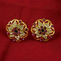 18k Goldplated Ethnic Stud Traditional Bollywood Earring Set Fashion Jewlery