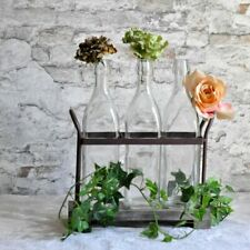 Flaschenhalter Holz & Eisen 3 Glas Flaschen Brocante Landhaus Styl Clayre & Eef