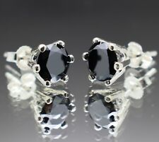 2.28tcw Real Natural Black Diamond Stud Earrings AAA Grade & $1340 Value....