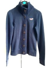 HOLLISTER SWEAT JACKET JUMPER WOMENS SIZE L NAVY KNIT FUNNEL COLLAR BUTTONED