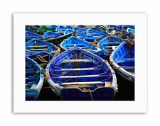 MOROCCAN BLUE SEA FISHING BOAT Picture Canvas art Prints