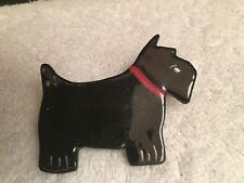 Vintage Signed Glossy Black SCOTTIE DOG Ceramic Animal Figurine PIN BROOCH