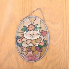 Vintage Stained Lead Glass Sun Catcher Easter Bunny Rabbit