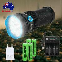 Powerful 50000LM 12 XM-L T6 LED Flashlight Torch Hunting Camping Light Battery